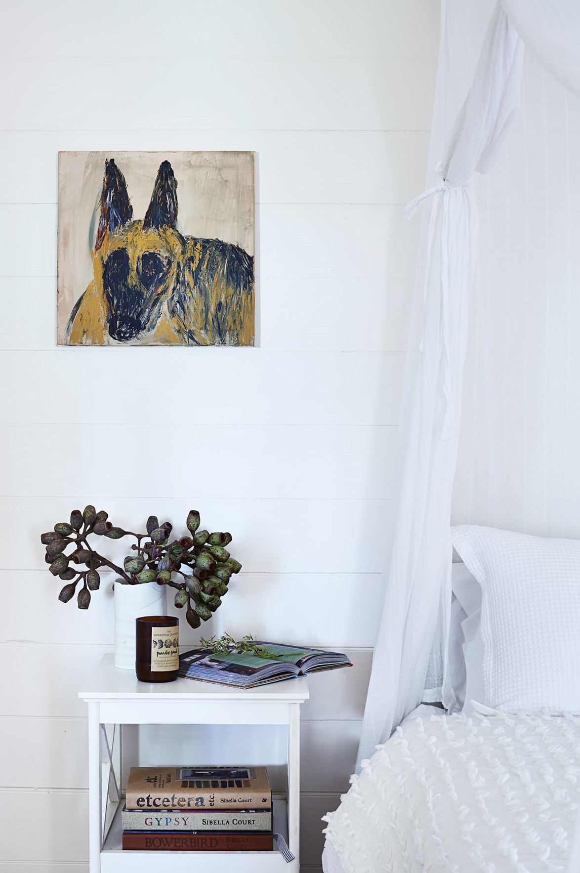 "Property manager Wendy Wishart proudly states that 'Luther', the painting in the bedroom, is of her German shepherd. ""I paint for therapy more than anything!"" she admits."