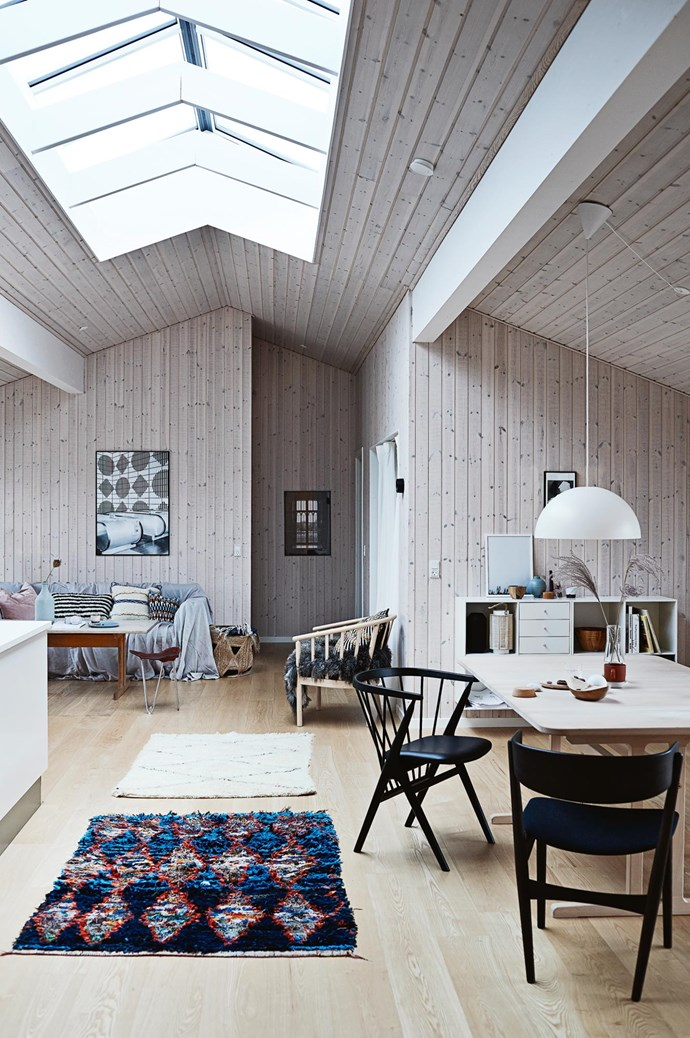 """Large skylights in the living areas let in light during the day and """"in the evening, you can see the stars,"""" says Mogens."""