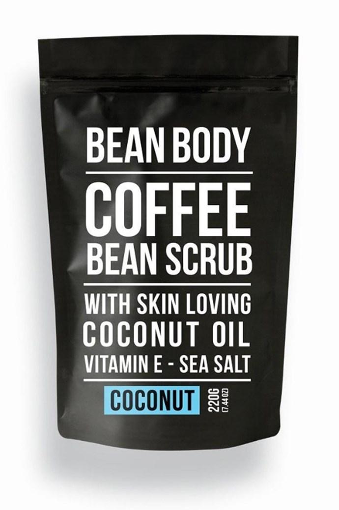 Bean Body's Coffee Scrub will sedate coffee cravings (just kidding) and leave skin feeling amazing. Bean Body's Coffee Scrub, $19.95, from [Flora and Fauna](http://www.floraandfauna.com.au/).