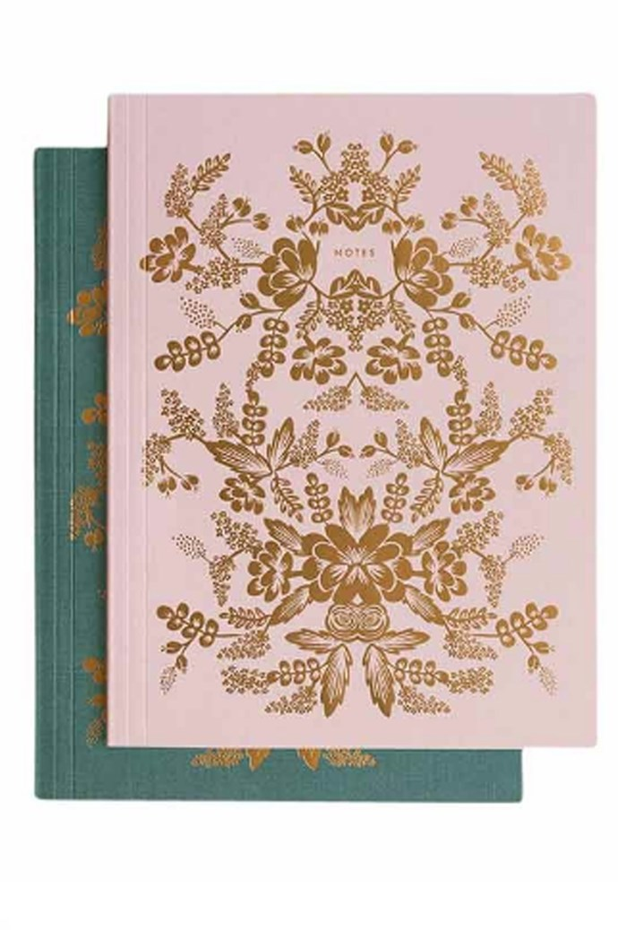 Inspire the art of keeping a journal with this Rifle Paper Co. notebook set. Includes two notebooks with intricate rose-gold foil patterns. $29.95, [Papier d'amour](https://www.papierdamour.com.au/)
