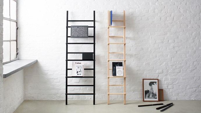 Hem 'Verso' wide shelf in Steel Blue, from $825, and 'Verso' magazine stands in Steel Blue, from $65/each, [District](http://district.com.au/)