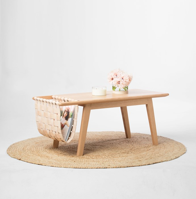 'Cuba' coffee table with magazine holder, $1650, [Beeline Design](http://www.beelinefurnituredesign.com.au/)