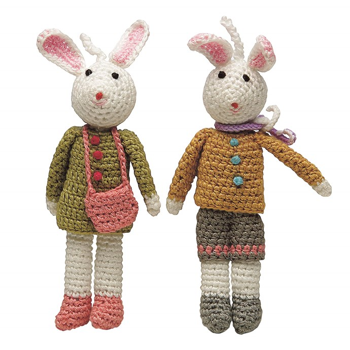 Crocheted bunnies, $21.95, a set of two, from [Oxfam](https://www.oxfam.org.au/ ).