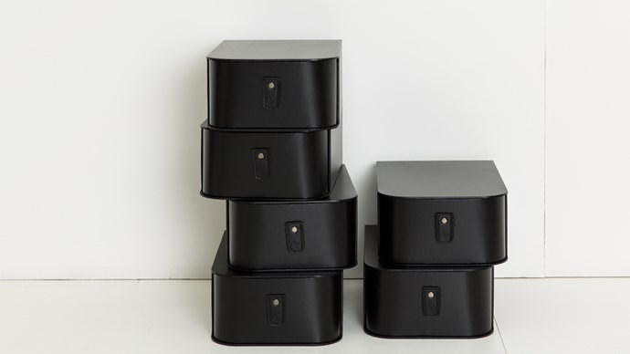 Milan shoe boxes in black, $48/each, [Sagitine](https://www.sagitine.com/shop/shoe-box/the-milan-shoe-storage-boxes)
