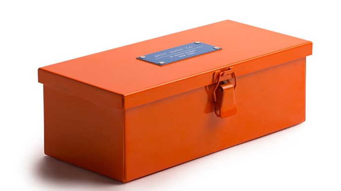 """The 9"""" Strongbox in Safety Orange, USD$38, from [Best Made Co.](https://www.bestmadeco.com/)"""