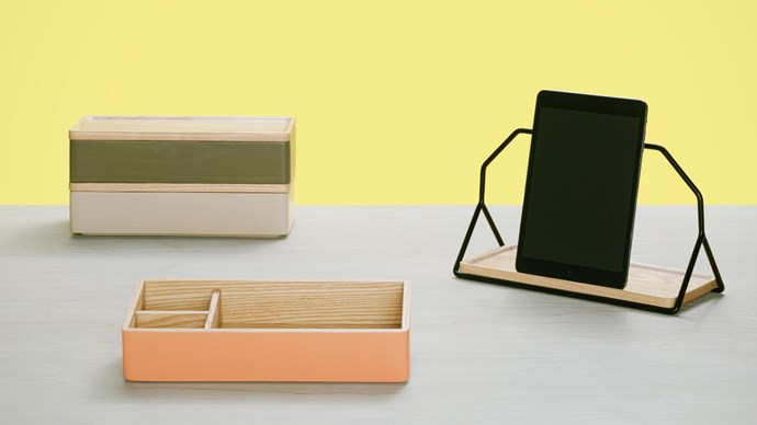 'Nest' caddy in Coral and Grey, USD$80 each, from [Umbra Shift](http://www.umbrashift.com/)