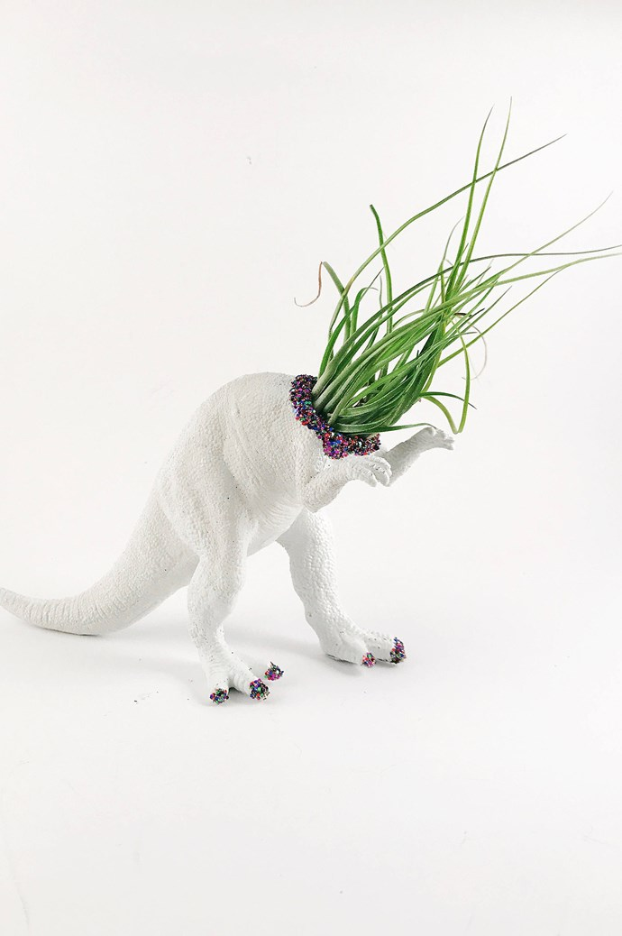 Plants are easy tenants. They'll set up shop in repurposed dinosaur toys, which prowl the prehistoric lands of [Etsy](https://www.etsy.com/au/listing/529790703/dinosaur-planter-animal-planter-animal?ref=related-1).