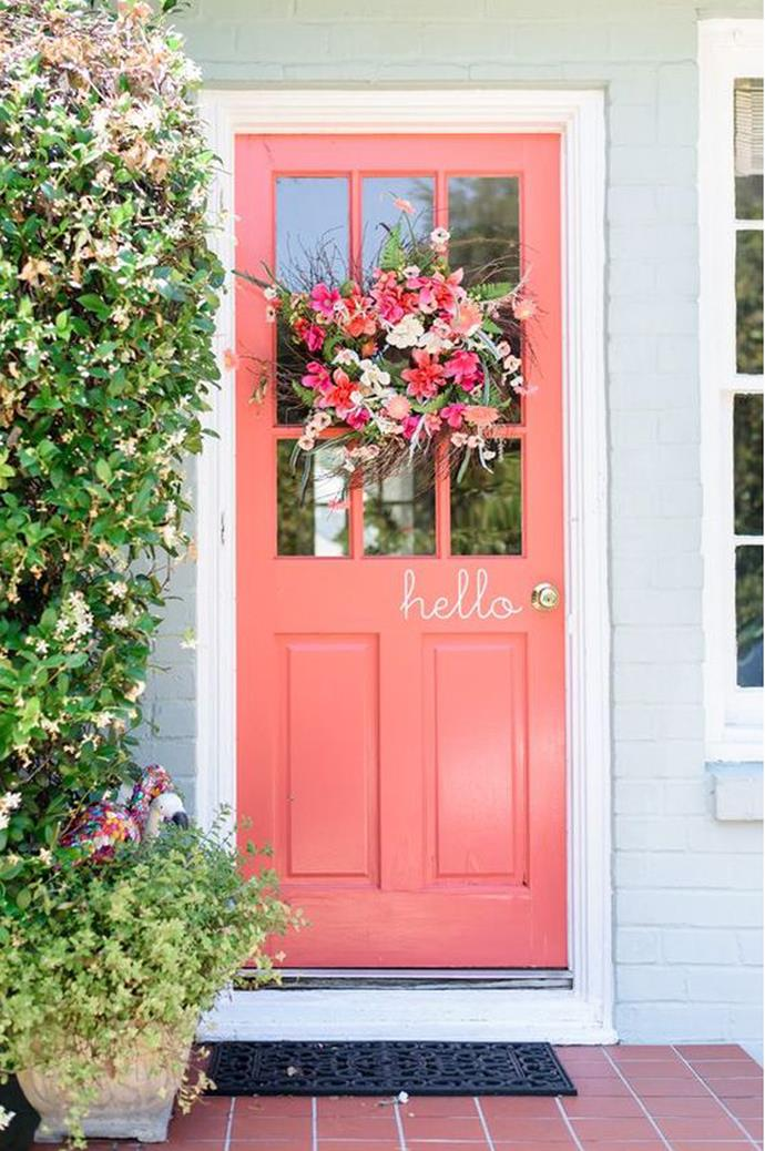 """1\. Coloured front door. The winner of the best cost to wow ratio goes to… the coloured front door! Not only is an impressive addition to your home, it makes it much easier to wrangle guests when you can say, """"We're the house with the salmon coloured door."""" _Image via [Southern Weddings](http://southernweddings.com/)_"""