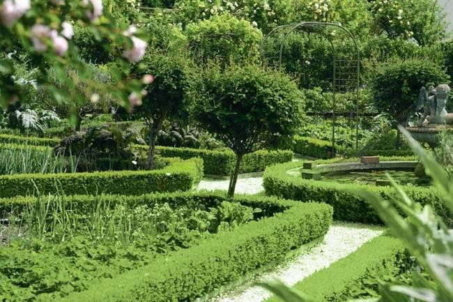 Hedges line the path and walkways leading to other areas of the green gardens.