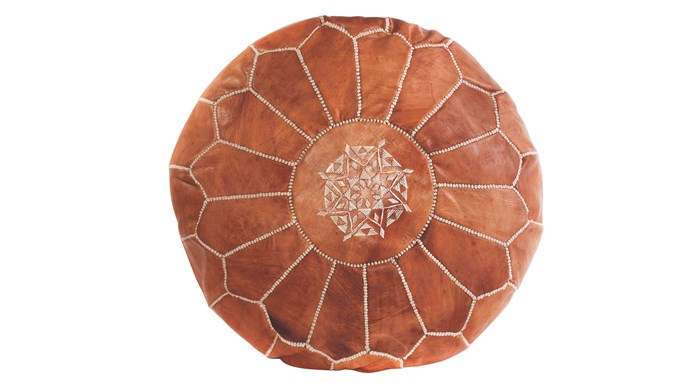 Moroccan pouf in Tan Brown, $179, [Cush and Co.](https://www.cushandco.com.au/)