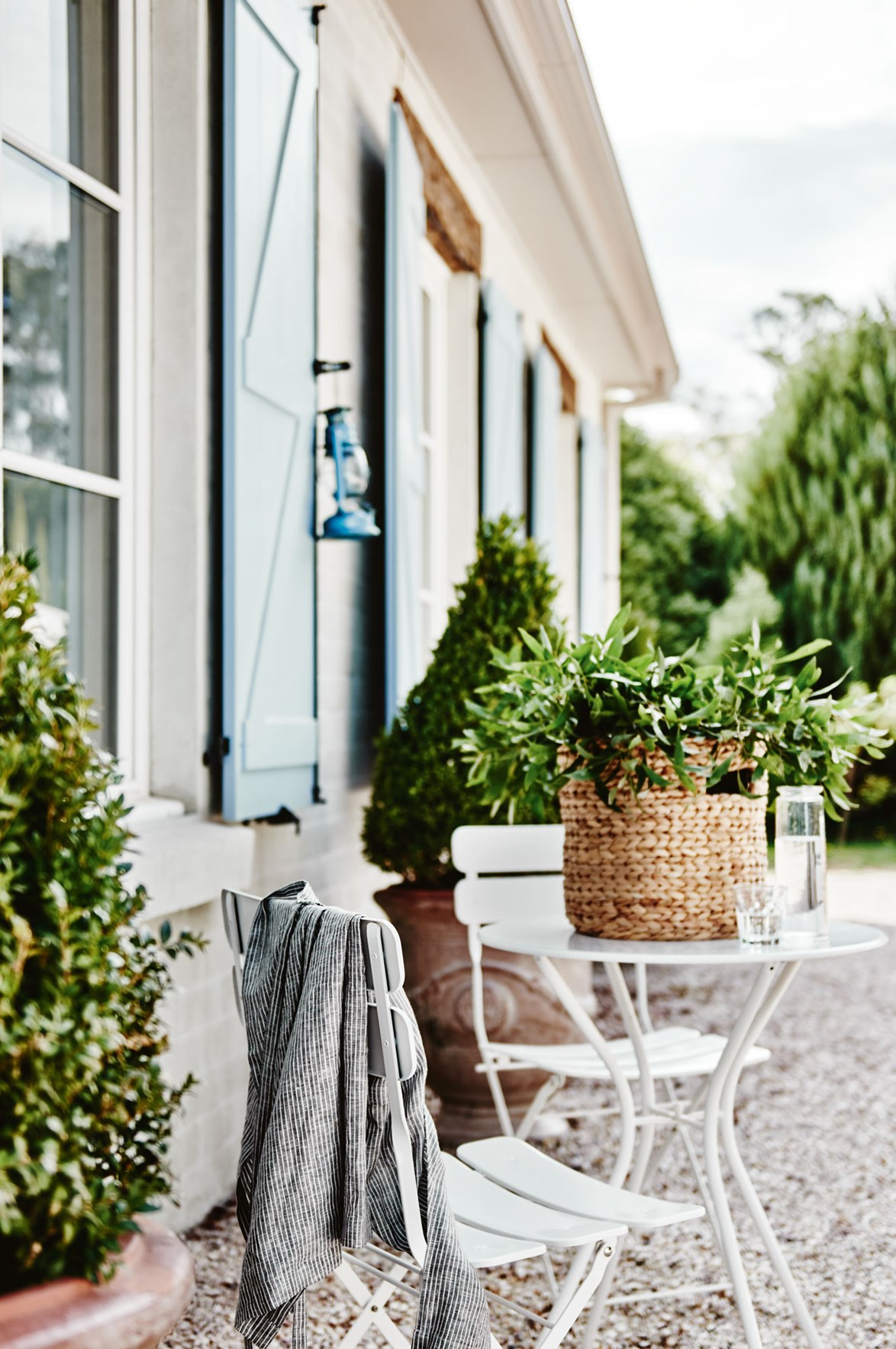 The outdoor dining setting is the perfect place to enjoy afternoon tea.