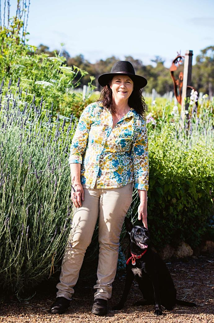 Cathy manages the winery with her husband Neil, a vigneron. She gardens with Polly, her three-year-old kelpie.