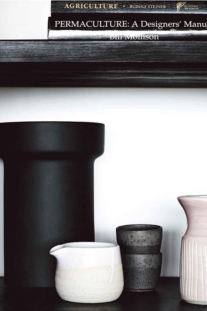 Ceramics —including a jug  and pink vase from The Shelley Panton Store, and a black Royal Doulton vase — arranged on ashelf in Maria Bortolotto's  cabin in the hinterland of Lorne, Victoria. | Photo: Tess Kelly