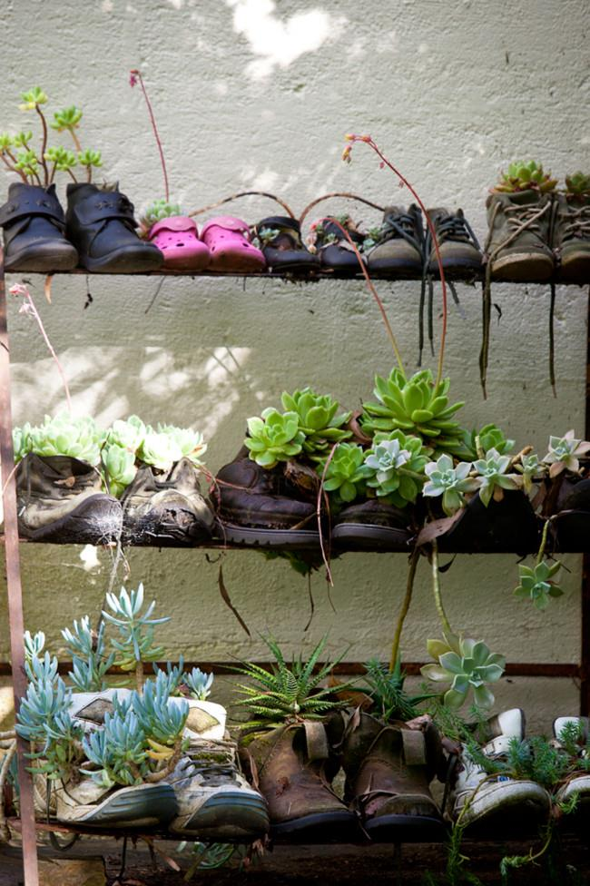 An inventive use for old shoes!  | Photo: Claire Takacs