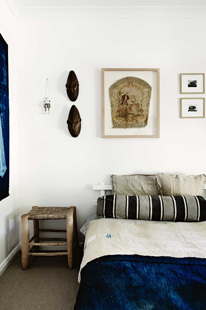 "Alison's artwork is displayed throughout her family's house. The [master bedroom](https://www.homestolove.com.au/master-bedroom-decorating-ideas-5494|target=""_blank"") features two of her cyanotype works — an 1800s photographic printing process which results in ghost-like images on heavyweight paper of old clothes such as wedding dress petticoats and christening dresses."