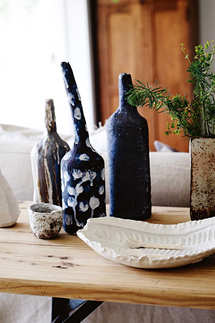"Alison sells her range of ceramics under the name [Slab + Slub](http://www.slabandslub.com.au/|target=""_blank""|rel=""nofollow""). She is currently working on a series of blue ceramic bottles."