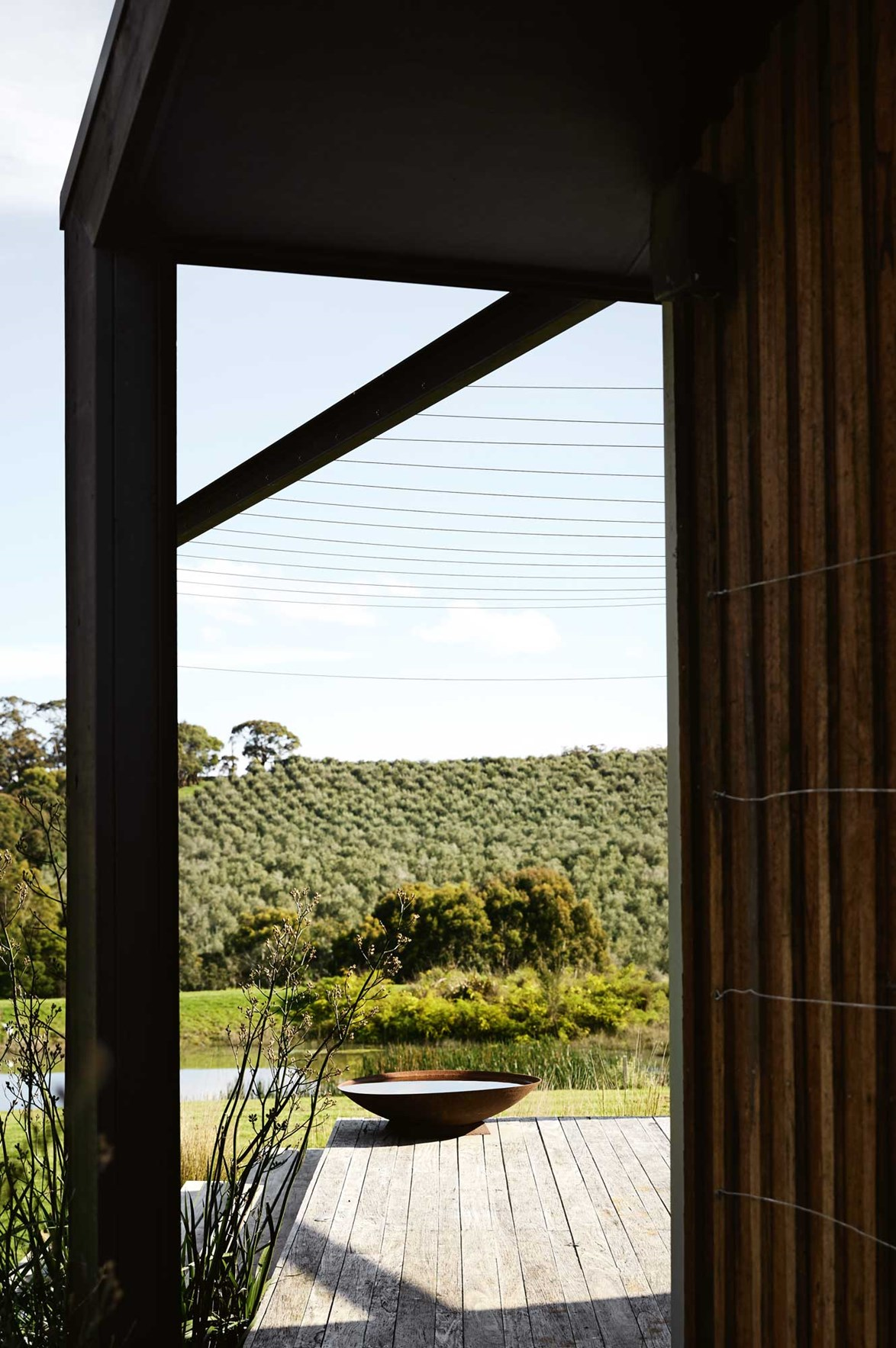 "A newly built [cottage on the Mornington Peninsula](https://www.homestolove.com.au/a-mornington-peninsula-cottage-and-olive-grove-13815|target=""_blank"") features a verandah that overlooks a picturesque pond and olive grove. *Photo: Sharyn Cairns*"