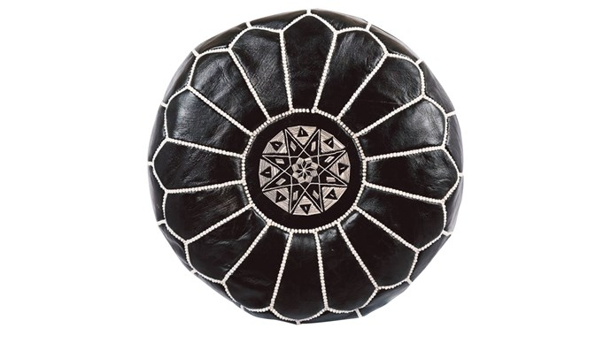 Moroccan pouf with black-and-white stitching, $149.95, [Mint Empire](https://mintempire.com.au/)