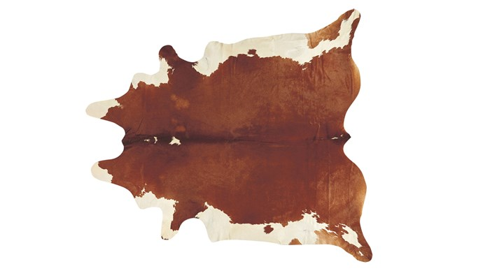 'Genuine Brazilian' cowhide rug, $462, [NSW Leather Co.](http://www.leatherco.com.au/)