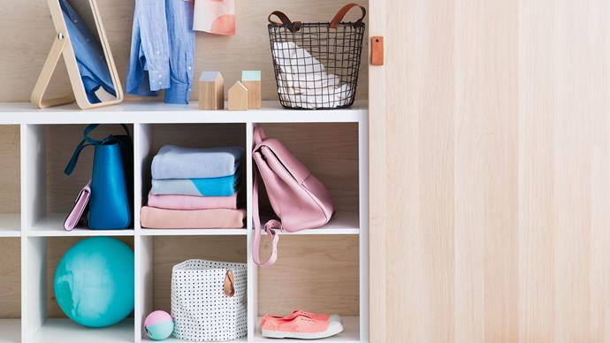 Use cube shelves filled with storage baskets to keep your kids belongings organise and on hand.