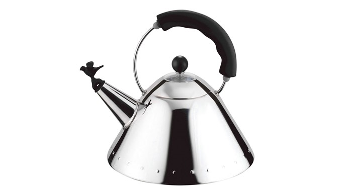 Alessi kettle with bird whistle by Michael Graves, $269, [Peter's of Kensington](https://www.petersofkensington.com.au/Public/Default.aspx)