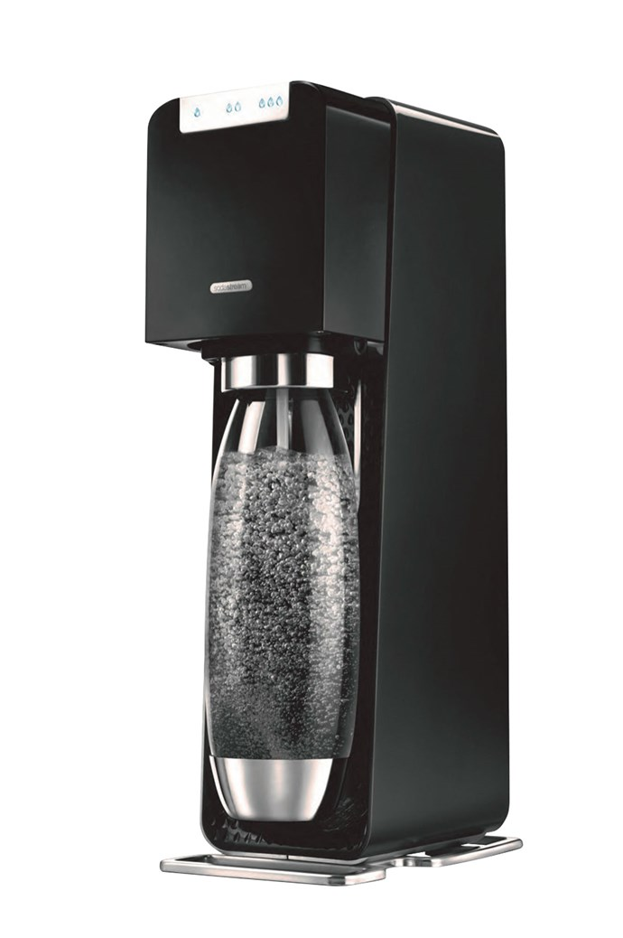 Soda Stream Source in Electric Black, $149, [The Good Guys](https://www.thegoodguys.com.au/)