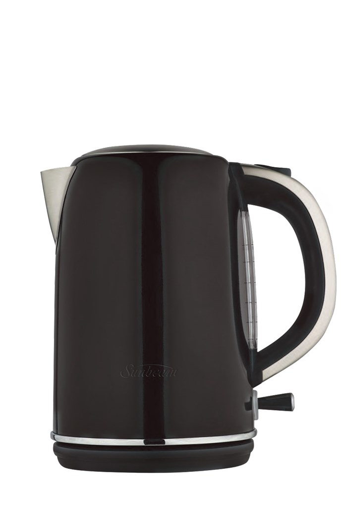 Sunbeam 'Simply Stylish' kettle in Black, $79.95, [The Good Guys](https://www.thegoodguys.com.au/)