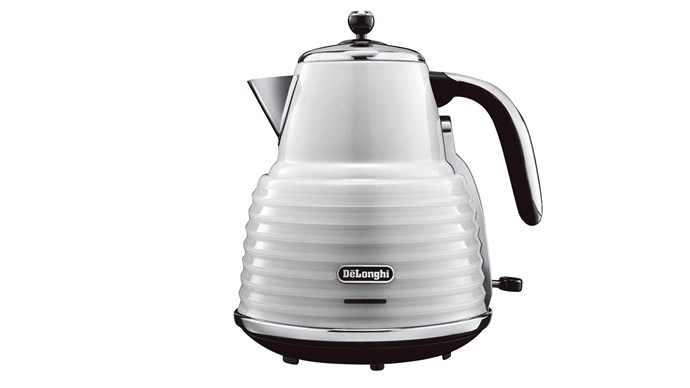 DeLonghi 'Scultura' kettle in White, $169, [The Good Guys](https://www.thegoodguys.com.au/)