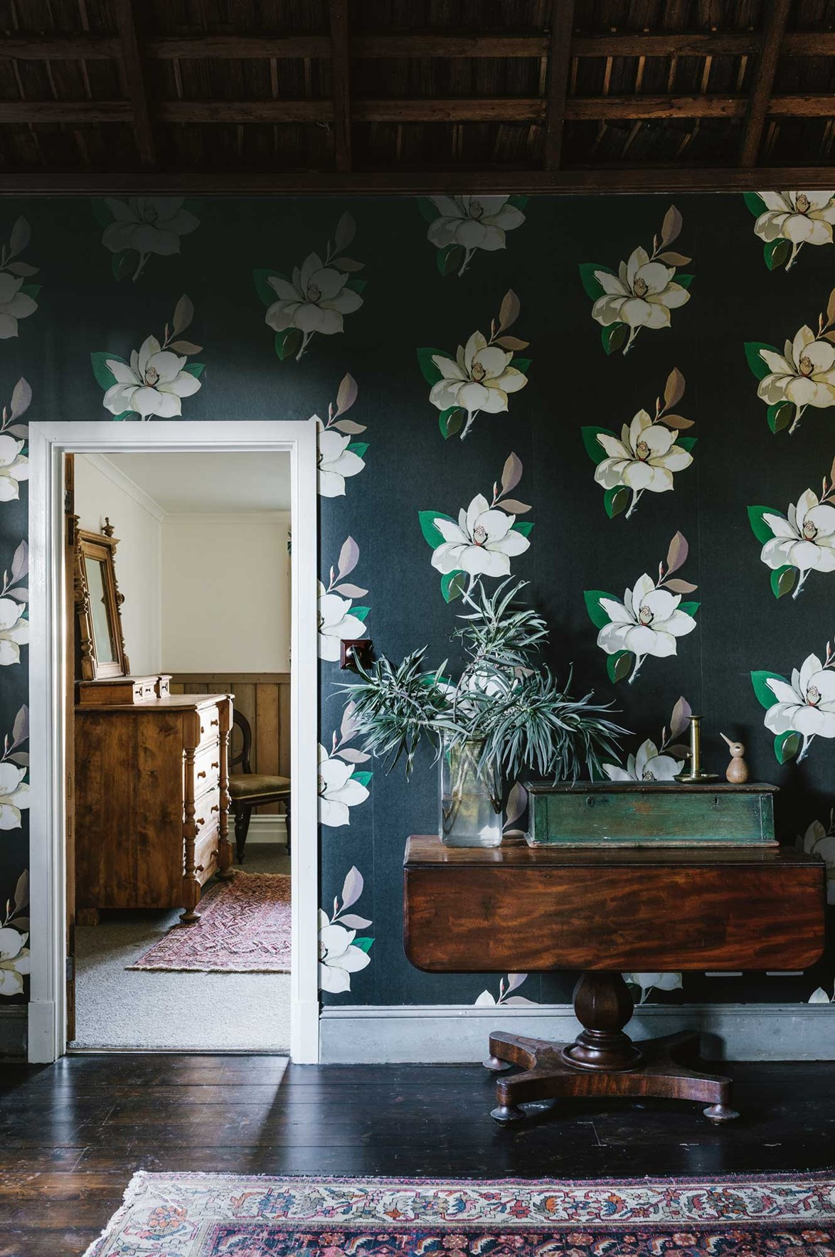 """Wallpaper is a brilliant way to add colour to a room. When a creative couple restored began work on an [old guesthouse](https://www.homestolove.com.au/old-farmhouse-restoration-13852