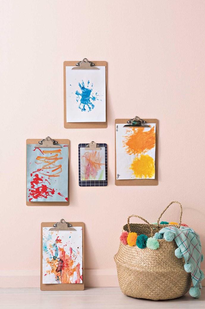 On wall: Masonite clipboards, $2.50 each, and 'Notes' clipboard, $5, [Kmart](http://www.kmart.com.au/). 'Wash&Wear' interior paint in Quilt, $85.90 for 4L, [Dulux](https://www.dulux.com.au/). On floor: 'Pom Pom' basket, $55, [Olli Ella](http://www.olliella.com.au/). 'Colourlines' blanket, $249, [Kip&Co](https://kipandco.com.au/). | Photo: Sam McAdam-Cooper