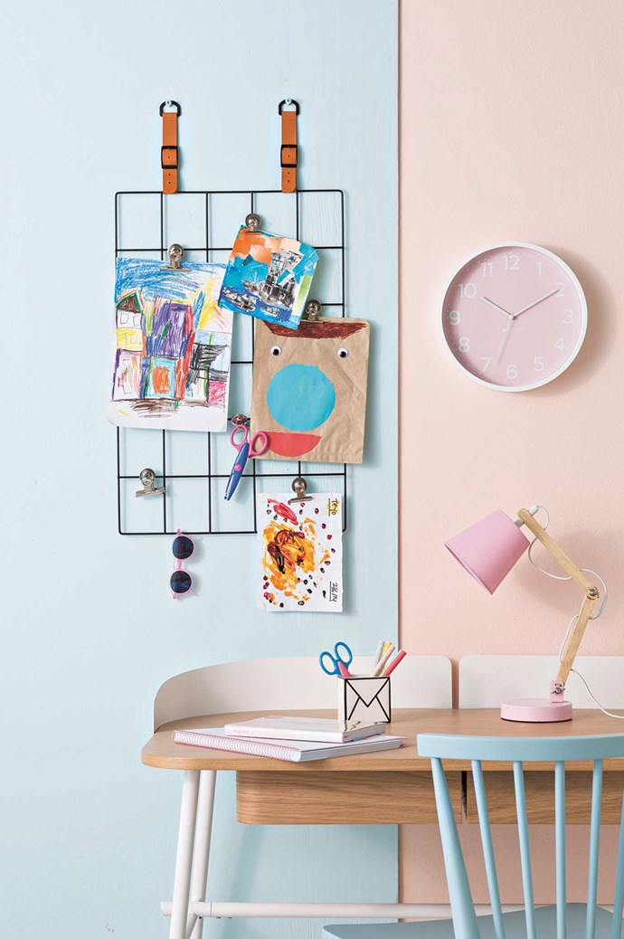 On wall: Storage grid, $6, from [Kmart](http://www.kmart.com.au/). [Kikki.K](https://www.kikki-k.com/) magnetic bulldog clips, $9.95/pack of 3. 'Craft Shapes' scissors, $10/pack of 12, [Kmart](http://www.kmart.com.au/). Izipizi 'Sun Baby' sunglasses, $44.95, Until. 'Blush' wall clock, $69, [Lilly & Lolly](http://www.lillyandlolly.com.au/home.asp). 'Wash&Wear' interior paint in Baby Motive Quarter (left) and Quilt (right), $85.90 for 4L, [Dulux](https://www.dulux.com.au/). Hartô 'Victor' desk, $1295, and Sketch 'Requin' side chair, $195, both [Clickon Furniture](http://www.clickonfurniture.com.au/). On desk 'Cute' A4 5-tab notebook, $14.95; 'Cute' A5 feature notebook, $19.95; 'Letters' pencil cup, $19.95, and 'Inspiration' slim ballpoint pens, $9.95/pack of 5, all [Kikki.K](https://www.kikki-k.com/). 'Craft Shapes scissors, $10/pack of 12, and wooden table lamp in Pink, $17, [Kmart](http://www.kmart.com.au/). | Photo: Sam McAdam-Cooper