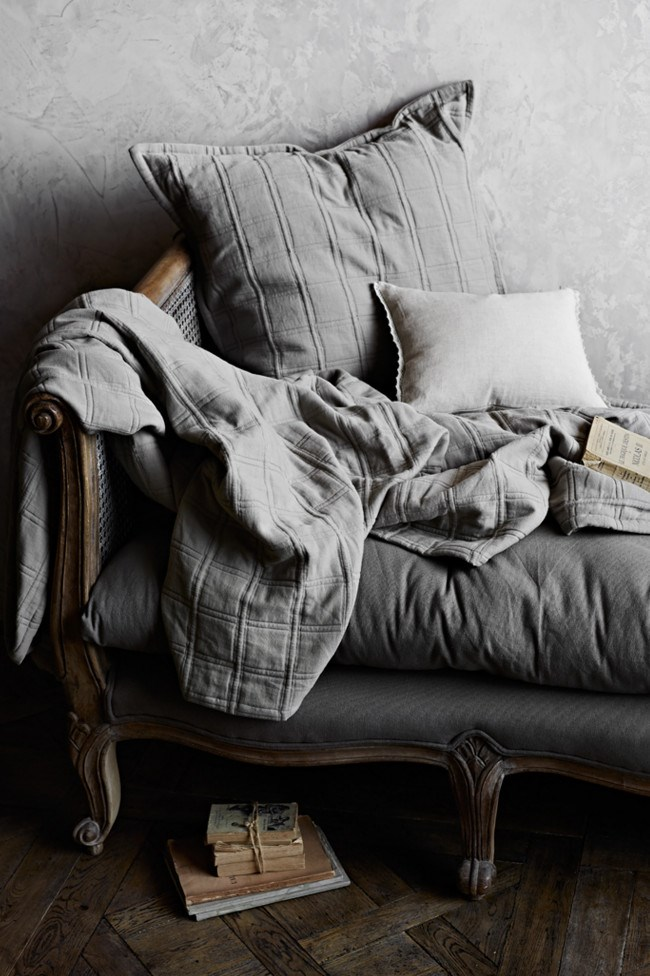The 'Haven' collection is designed in an understated cinnamon colour and features a classic square pattern. From left, 'Haven' coverlet, 'Haven' European pillow sham, 'Amber' cushion.  The range is now available at the [Country Style shop](http://www.shopcountrystyle.com/)! | Photo: Sharyn Cairns