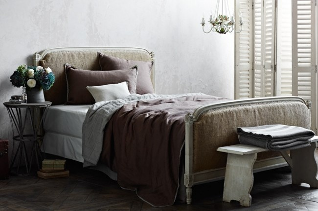 The 'Dove' collection is finished in warm mocha linen and a pretty lace trim. From left, 'Dove' European pillowcase, 'Haven' coverlet, 'Amber' cushion, 'Dove' double-size quilt cover set, 'Drift' blankets.  The beautiful bedlinen range is now available at the [Country Style shop](http://www.shopcountrystyle.com/)! | Photo: Sharyn Cairns