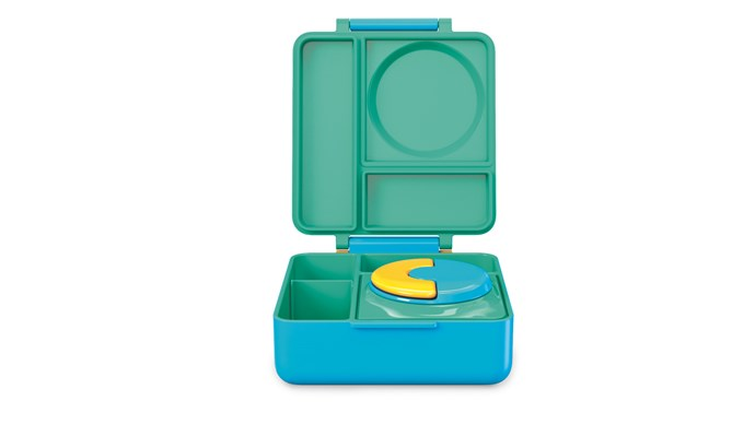 Omie 'OmieBox' in Meadow, with a hot/cold insulated food jar and sectioned lunchbox, $65, [Trendy Lil Treats](http://www.trendyliltreats.com.au/)