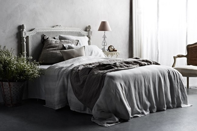The elegant 'Harper' collection features muted grey and cream yarn-dyed linen stripes. From left, 'Haven' European pillow sham, 'Harper' European pillowcase, 'Amber' cushion, 'Harper' double quilt cover set, 'Haven' coverlet.  The range is now available at the [Country Style shop](http://www.shopcountrystyle.com/)! | Photo: Sharyn Cairns