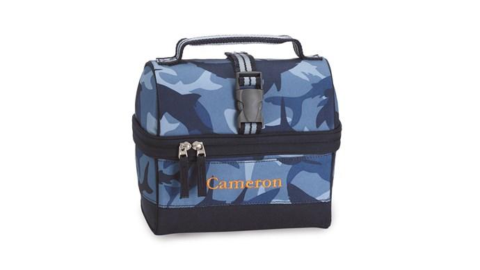 'Mackenzie Retro' lunch bag in Navy Shark Camo, $29, [Pottery Barn Kids](http://www.potterybarnkids.com.au/)