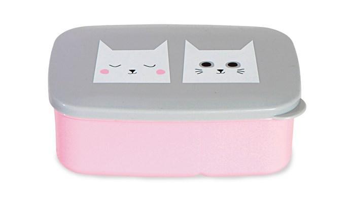 Kitsch Kitchen 'Cat Grey/Pink' lunch box, $25.95, [Leo & Bella](http://leoandbella.com.au/)