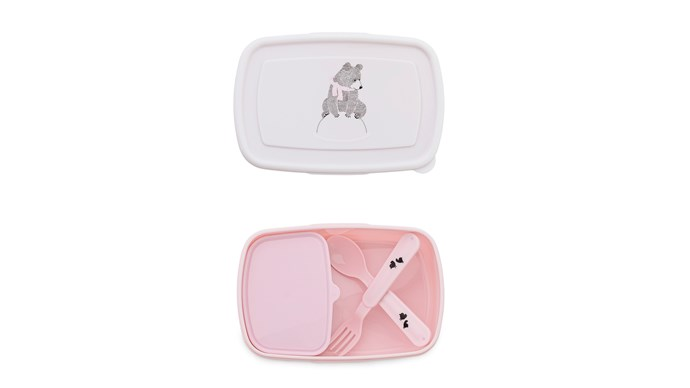 Bloomingville lunch box with cutlery set, $19.95, [Kido Store](https://www.kidostore.com/)
