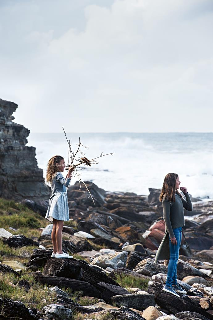 As the family home is sandwiched between Avoca and Macmasters beaches, the girls often love exploring the coastline.