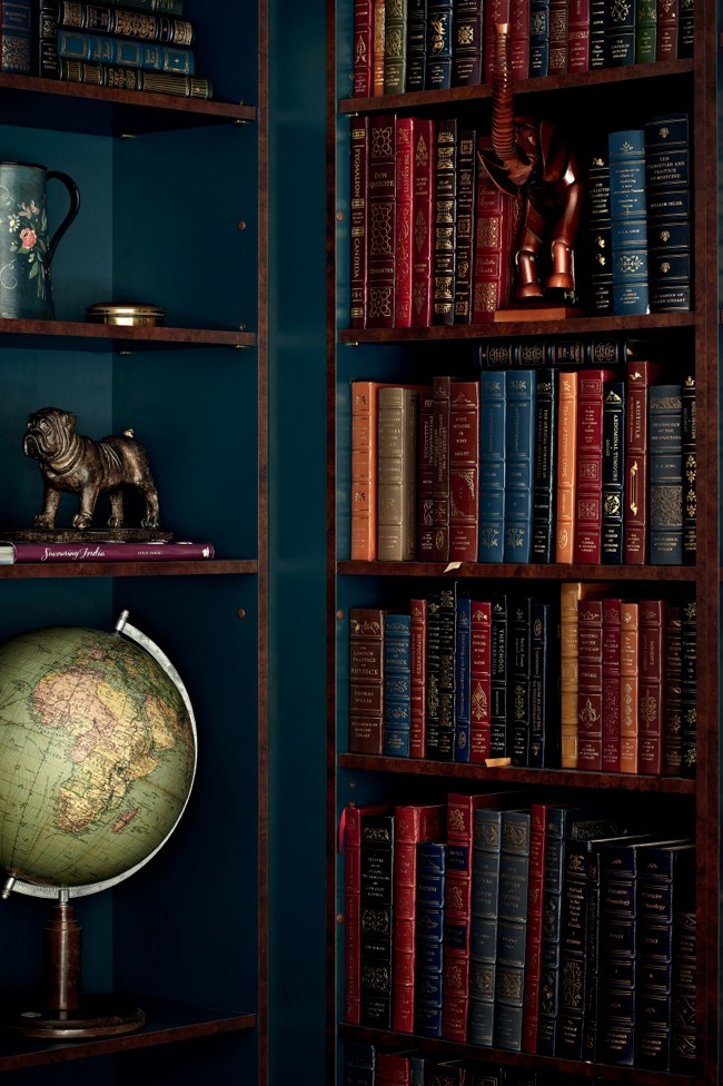 The globe is one of several family heirlooms in the library. | Photo: Sharyn Cairns