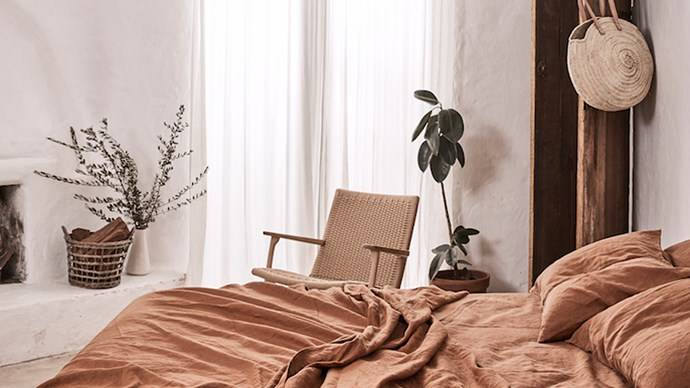 The second collaboration between [IN BED](https://inbedstore.com/) and [We Are Triibe](http://www.wearetriibe.com/) sees a beautiful, earthy linen range in the rich tone of tobacco. A rustic, European-inspired private residence was the perfect backdrop for the collection, providing inspiration for We Are Triibe directors Christina Symes and Jessica Stewart to share their top 5 tips on turning your bedroom into a dreamy sanctuary you'll want to linger in all day. | Photo: Terence Chin