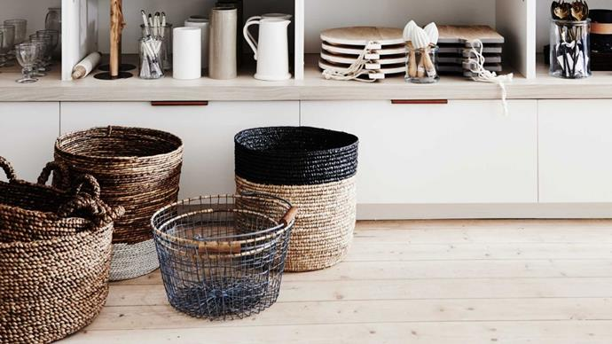 Light, portable, and available in many shapes and sizes, baskets make a flexible storage solution. Here are seven clever ways to make them work at home.