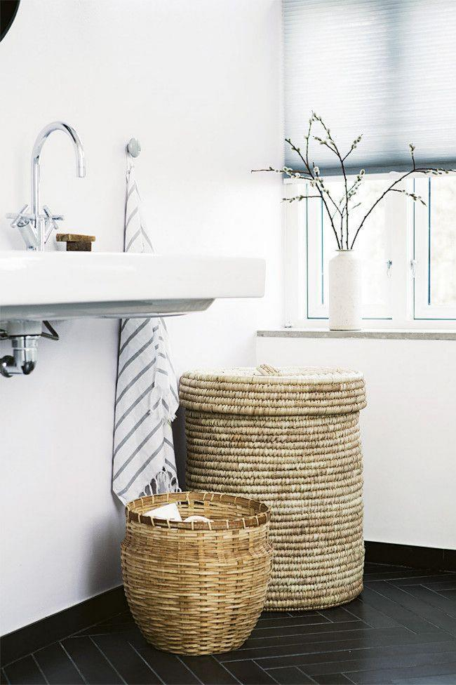 2. Bathroom. A sturdy, oversized basket or two will quickly become an essential addition to your bathroom. Perfect or keeping dirty towels and laundry out of sight, it can also double as a bath table to hold magazines.