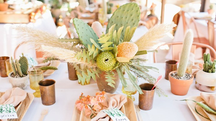 This desert-inspired palette of copper, peach and green is perfect for a summer celebration. Image via [Green Wedding Shoes](http://greenweddingshoes.com/)