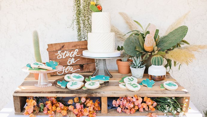 Take inspiration from your spiky friends when planning dessert – how cute are these cactus cookies?! Image via [Green Wedding Shoes](http://greenweddingshoes.com/)