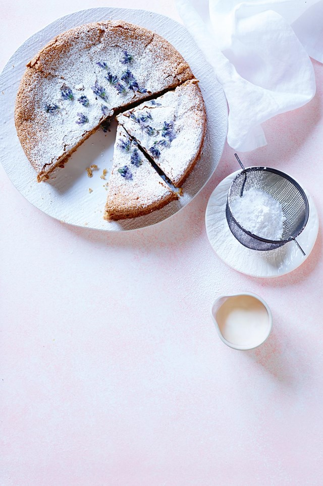"""**[Flourless almond & lavender cake](https://www.homestolove.com.au/flourless-almond-and-lavender-cake-12521 target=""""_blank"""")** A moist and fragrant dessert, perfumed by delicate florals and packed with the crunch of raw almonds, hazelnuts and freshly shelled walnuts."""