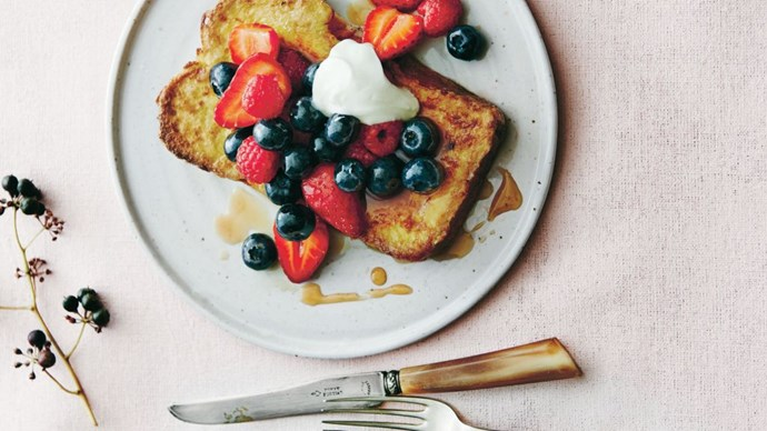 Tamsin Carvan's [French toast with mixed berry compote and yoghurt](http://www.homelife.com.au/recipes/mains/french-toast-with-mixed-berry-compote-and-yoghurt) is as visually beautiful as it is delicious. Make the compote and egg mixture the night before.