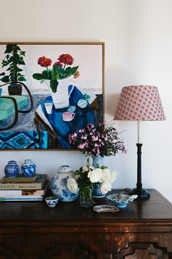 """I sometimes change my bases and shades to freshen the look,"" says Susan, who enjoys using preloved lamp bases and colourful patterned fabrics (such as this lampshade from [Anna Spiro Textiles](https://www.homestolove.com.au/q-and-a-with-anna-spiro-4392