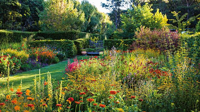 1. Frogmore (Lederberg, VIC). The garden is envisaged as a space with long walks, punctuated by gardens with distinct styles and colours. Each season, owners Jack Marshall and Zena Bethell experiment with colour themes — rearing the garden beds of Frogmore to emulate Claude Monet's 'paintboxes'.  | Photo: Claire Takacs