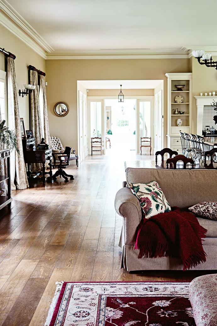 The couple had researched the decorative and architectural style of the period, tracking down authentic fittings at auctions and sales. American oak floors feature in the new wing, which contains the living area.